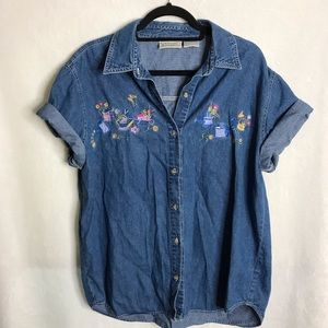 Vintage Embroidered Gardening Denim Button Down